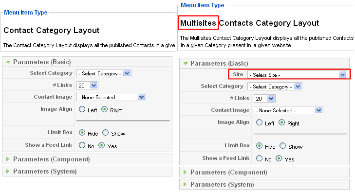 MultisitesContactCategoryLayoutforjoomla1.5