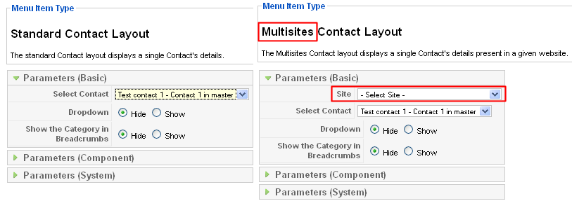 MultisitesContactLayoutforjoomla1.5
