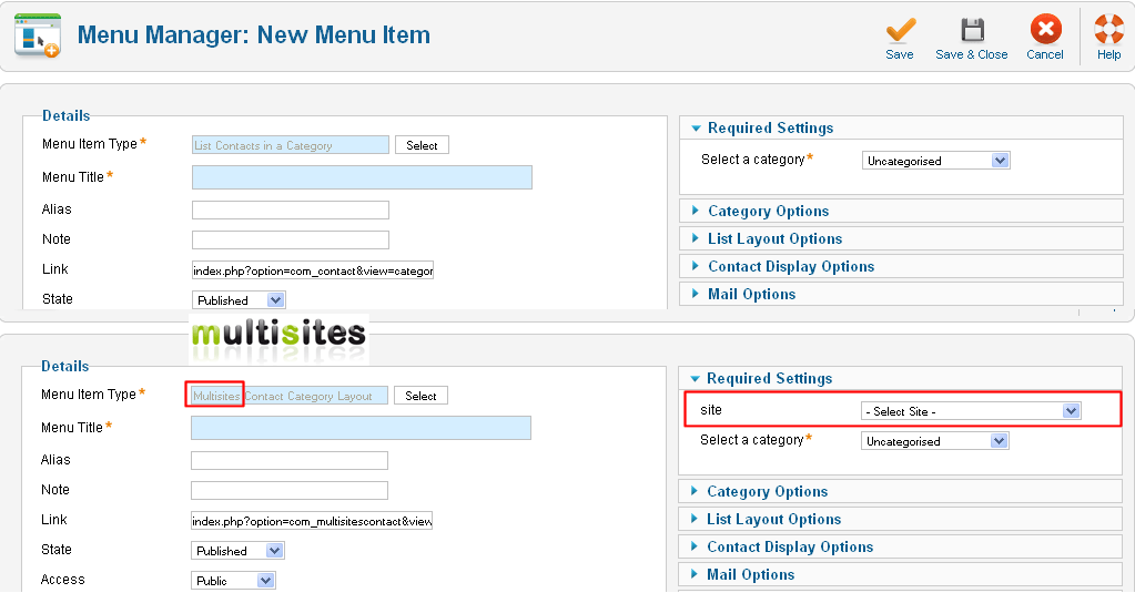 MultisitesContactCategoryLayoutforJoomla1.6