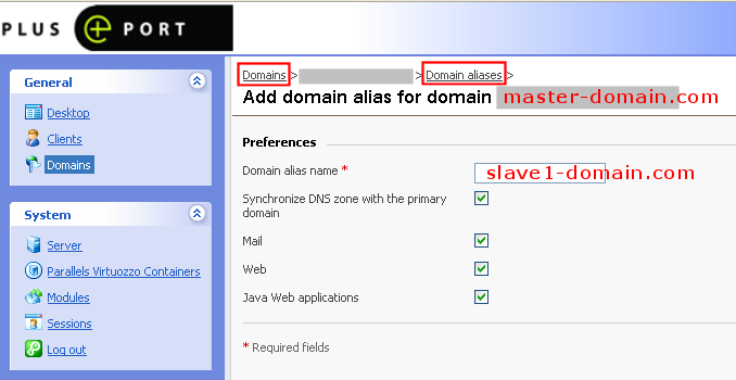 Add plesk domain alias